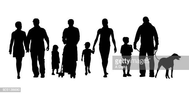 families and children crowd - walking stock illustrations, clip art, cartoons, & icons