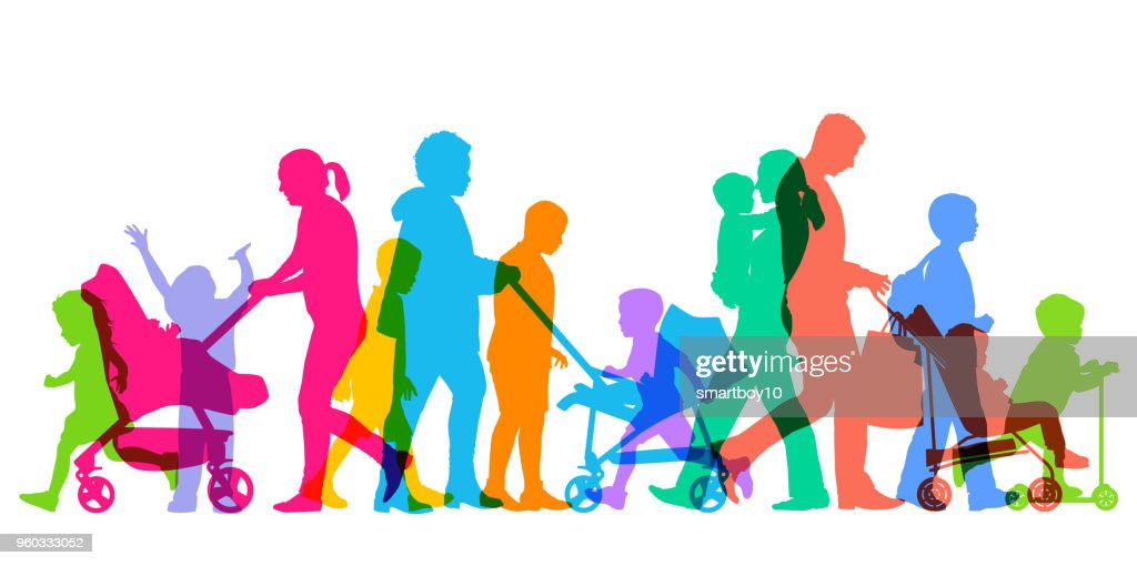 Families and Children : stock illustration