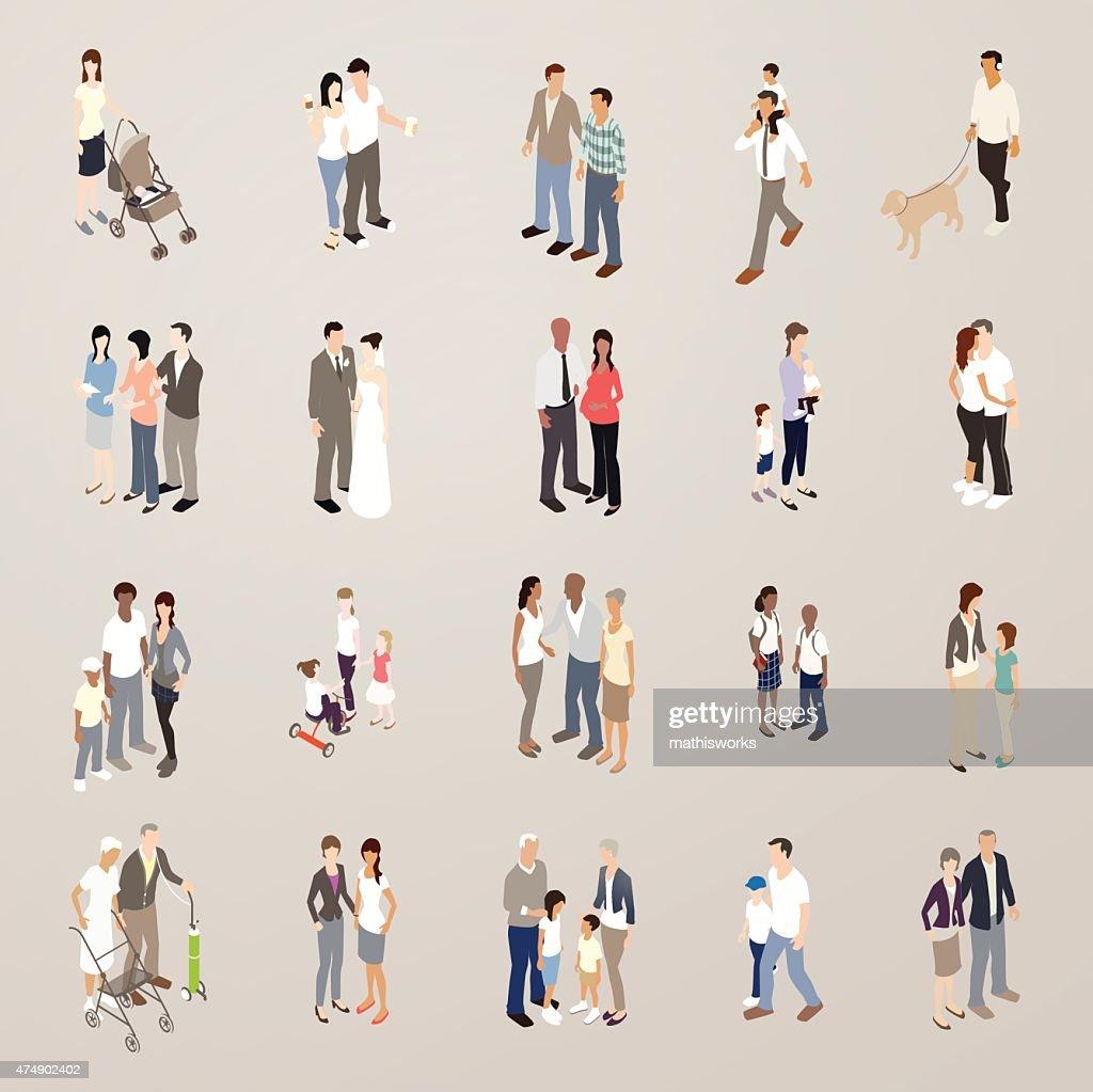 Families - Flat Icons Illustration : Vector Art
