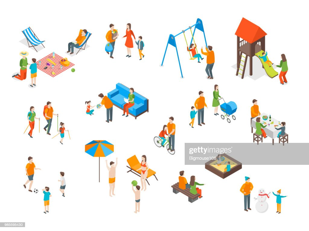 Families Spending Free Time 3d Icons Set Isometric View. Vector