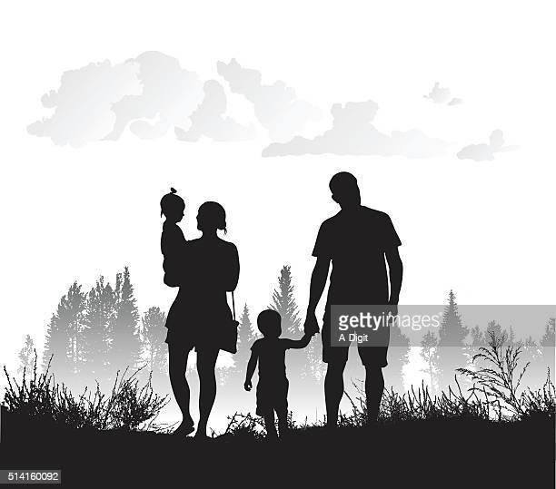 ilustraciones, imágenes clip art, dibujos animados e iconos de stock de familia la conexión con la naturaleza - madre e hija