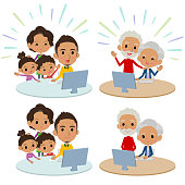family 3 generations internet communication black_Remote