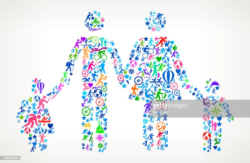 Family  Active Lifestyle Vector Icon Pattern : Stock Illustration