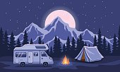 Family Adventure Camping Evening Scene. Caravan camper motorhome rv traveler journey to mountains. Pine forest and rocks background, starry night sky with moonlight