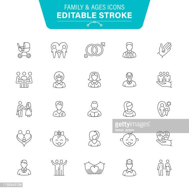 family and ages line icons - parent stock illustrations