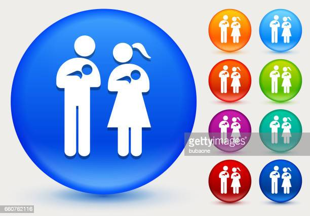 family and babies icon on shiny color circle buttons - {{relatedsearchurl('racing')}} stock illustrations, clip art, cartoons, & icons