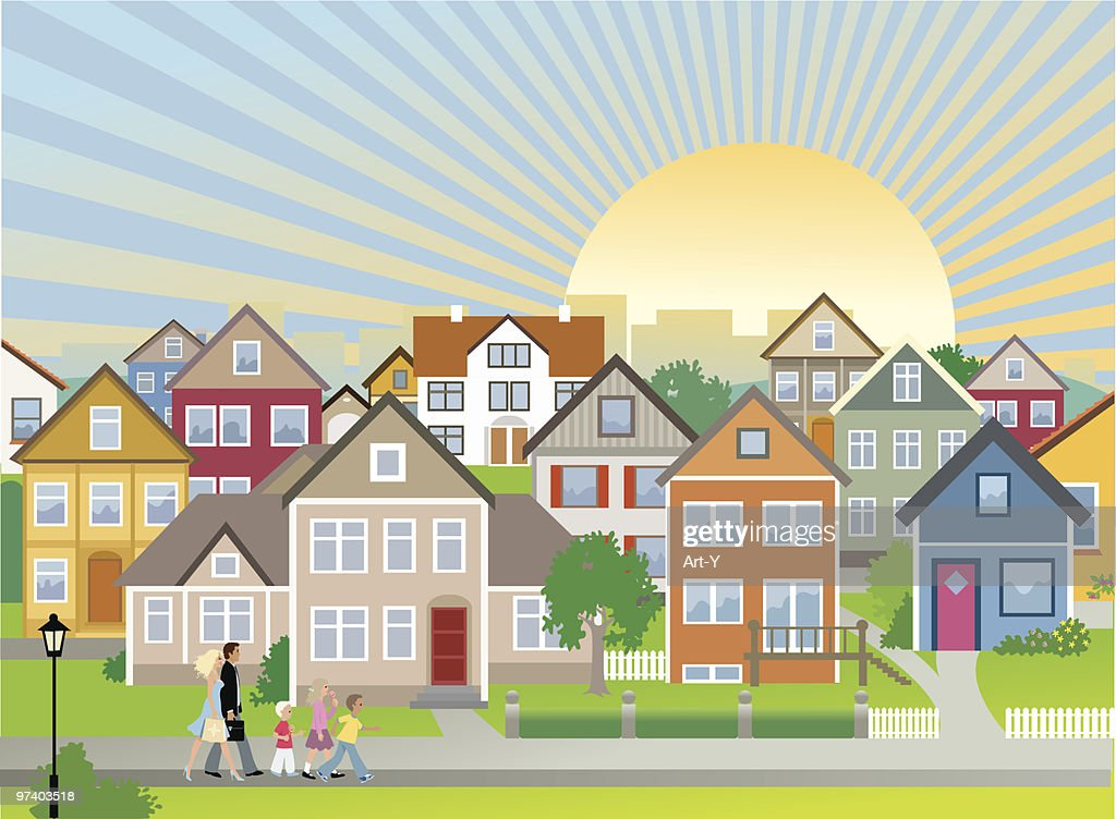 Family and Children Walking Down Neighbourhood Street with Houses : stock illustration