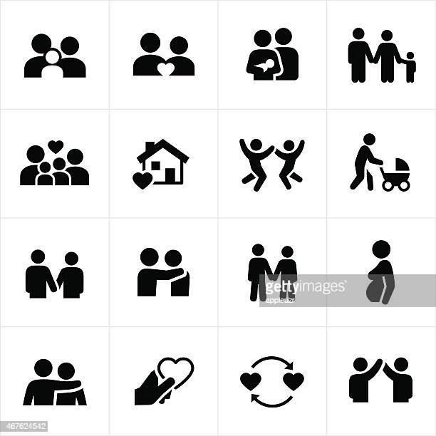 family and couple relationships icons - parent stock illustrations