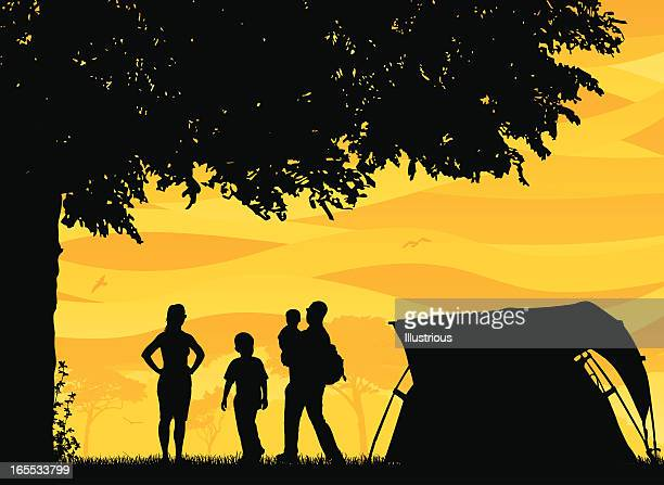 family and friends camping scene - tent stock illustrations, clip art, cartoons, & icons