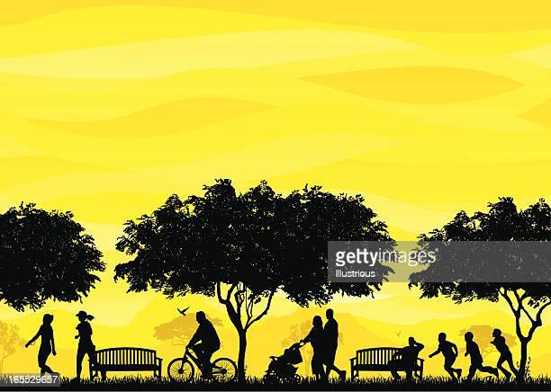 ilustrações de stock, clip art, desenhos animados e ícones de cena família e amigos - family cycling