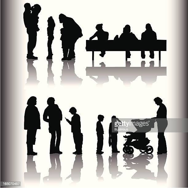 family and friends shadow series - three wheeled pushchair stock illustrations, clip art, cartoons, & icons