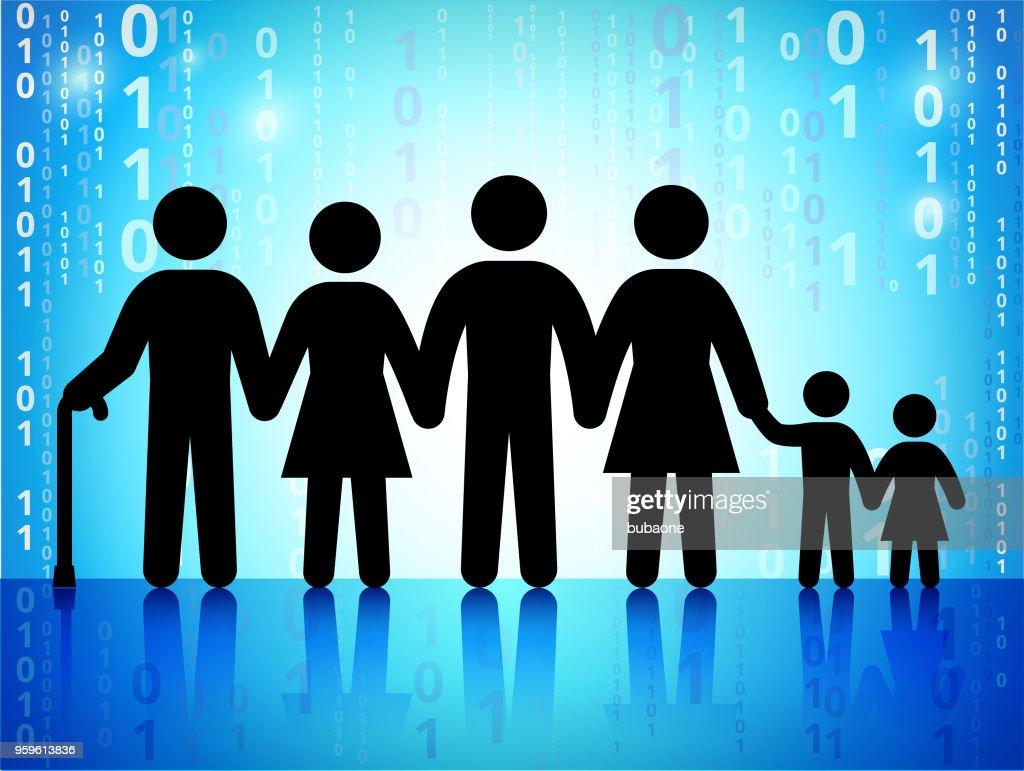 Familie und Generationen auf Binär-Code blauer Hintergrund : Stock-Illustration