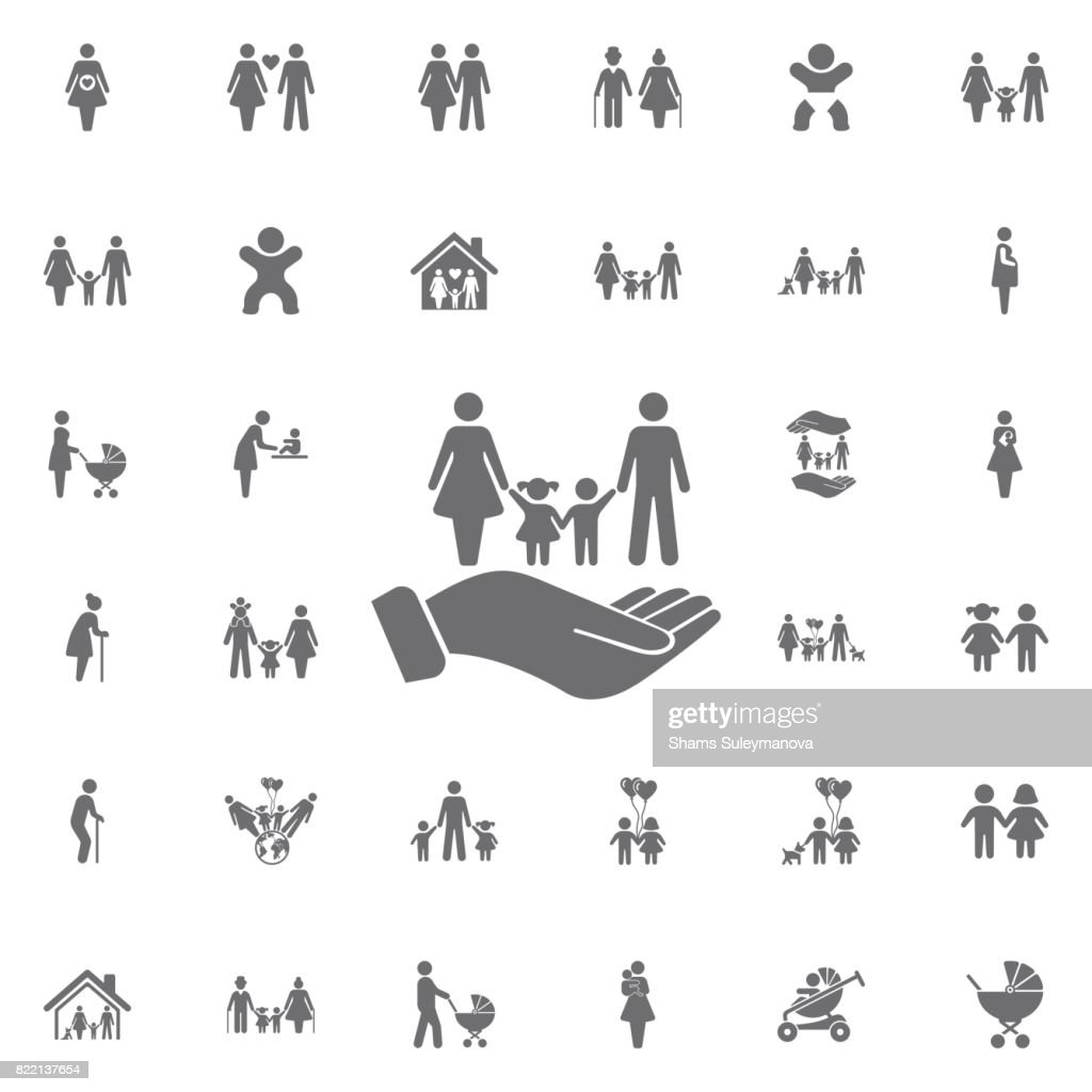 family and hands vector icon. life insurance sign. Set of family icons