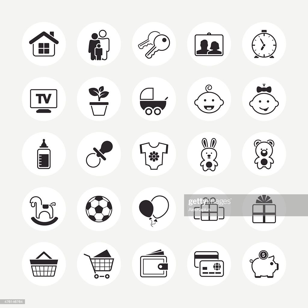 Family and home total vector icon set