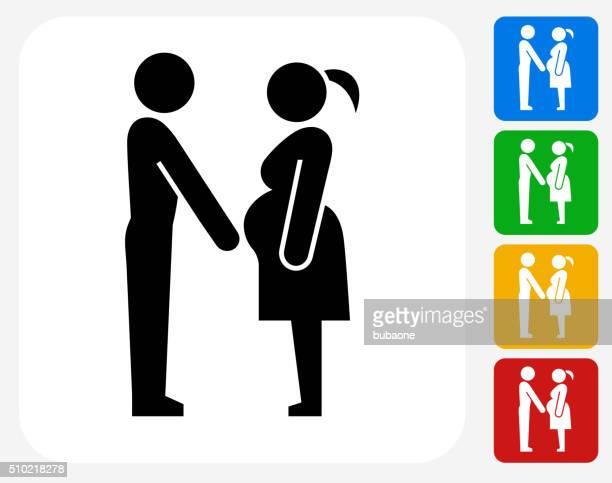 家族や妊娠アイコンのフラットグラフィックデザイン