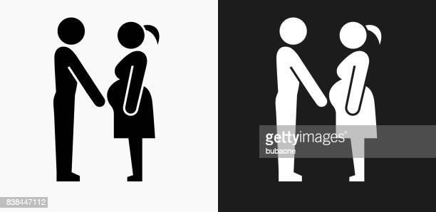 Family and Pregnancy Icon on Black and White Vector Backgrounds
