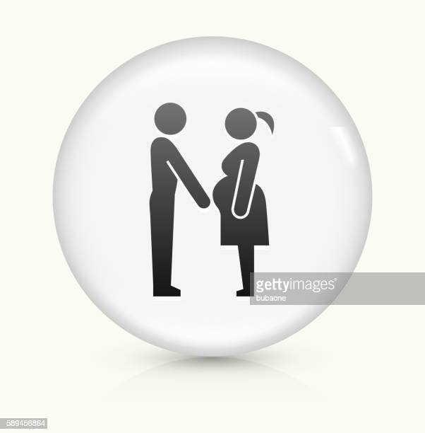 Family and Pregnancy icon on white round vector button