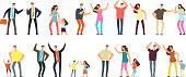 Family and professional conflict. Angry stressed swearing men, women and kids cartoon vector characters isolated