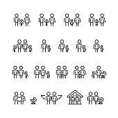 Family and relationship vector icon set in thin line style