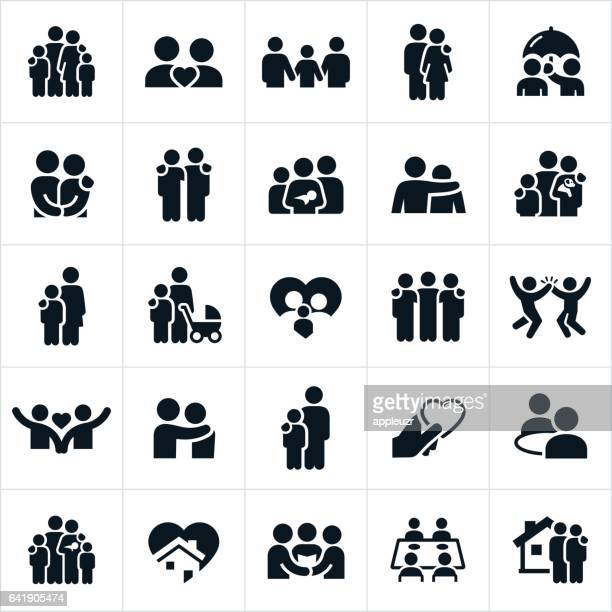 stockillustraties, clipart, cartoons en iconen met familie en relaties pictogrammen - vier personen