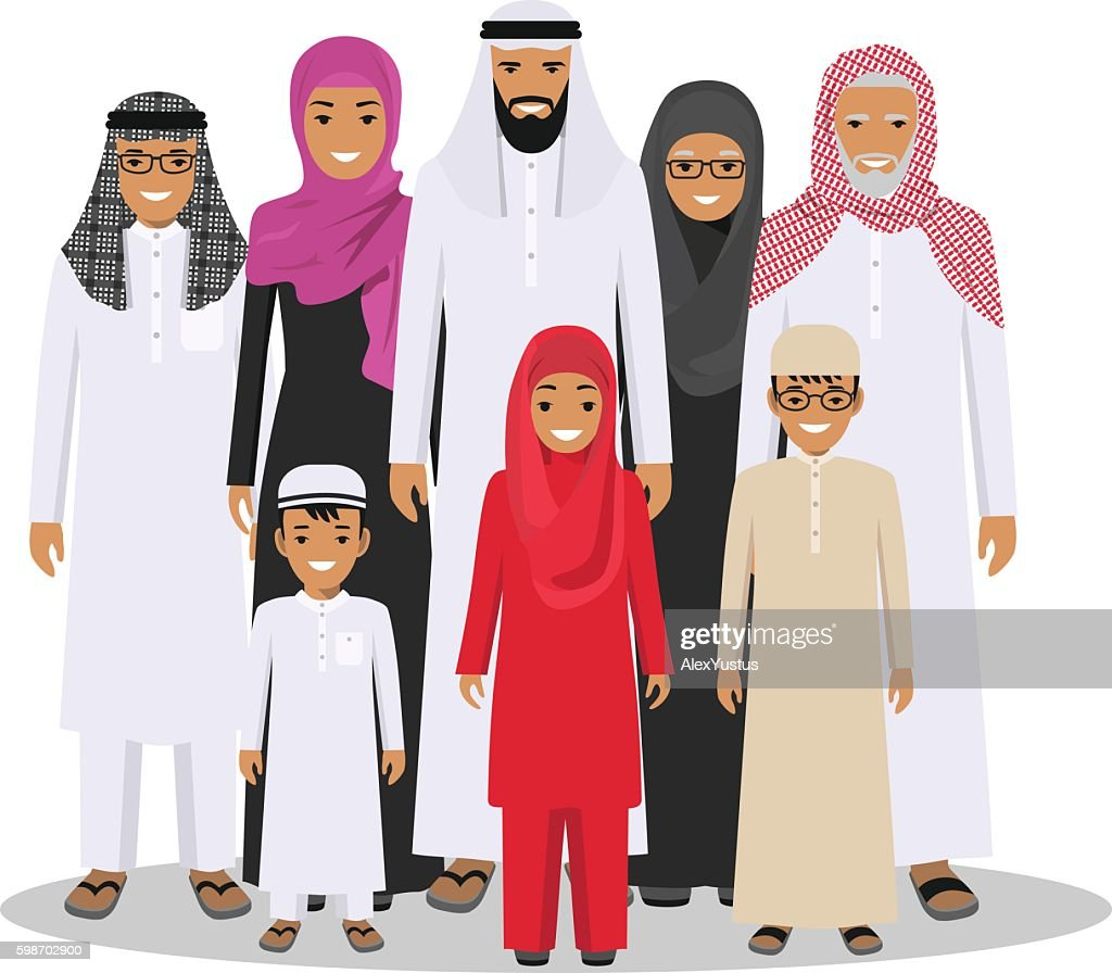 Family and social concept. Arab person generations at different ages.