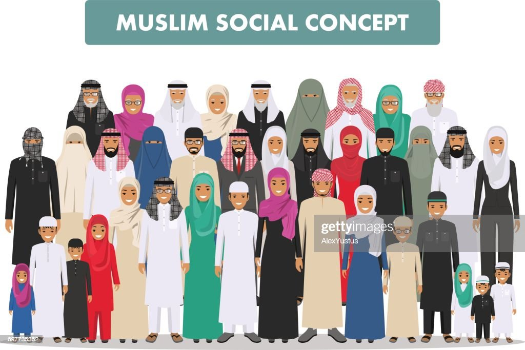 Family and social concept. Arab person generations at different ages. Group young and old muslim people standing together in different traditional islamic clothes on white background in flat style