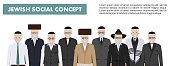 Family and social concept. Group senior jewish men standing together in different traditional clothes in flat style. Old israel people. Differences Israelis in the national dress. Vector illustration.