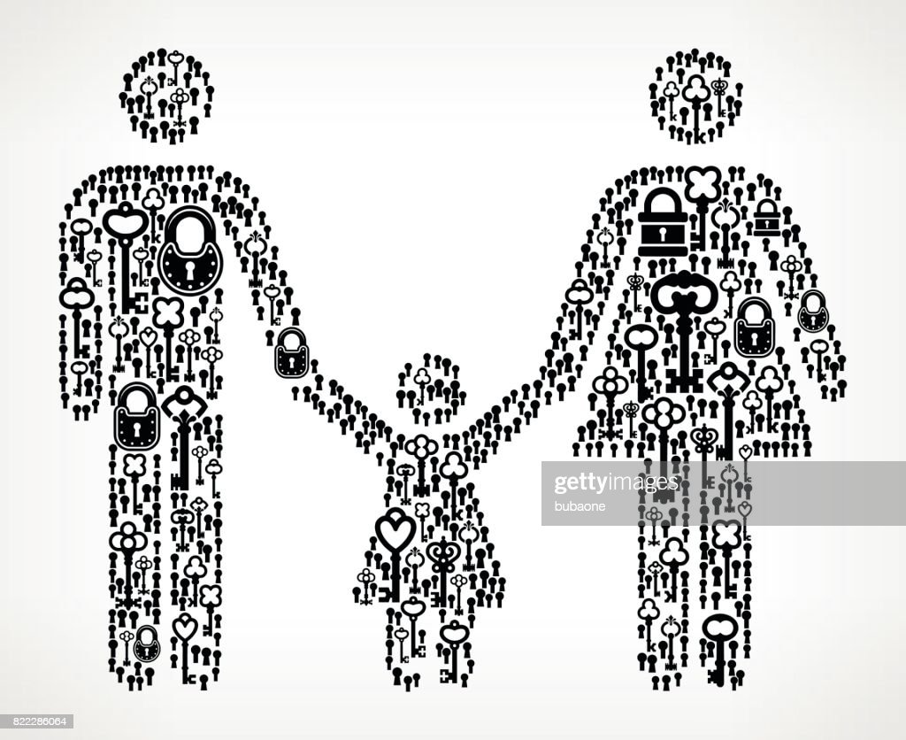 Family  Antique Keys Black and White Vector Pattern : stock illustration
