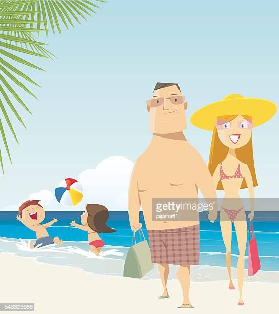 family at the beach - beach holiday stock illustrations, clip art, cartoons, & icons