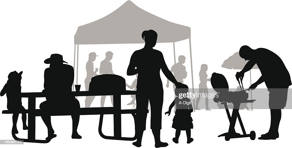 family bbq vector silhouette vector art getty images