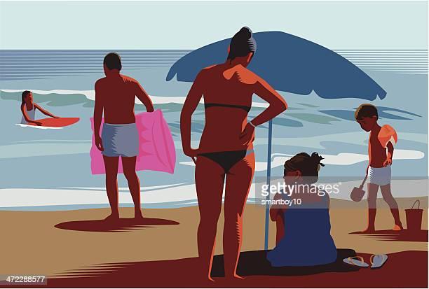 family beach holiday - beach holiday stock illustrations, clip art, cartoons, & icons