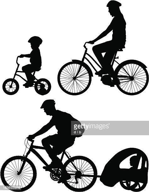 family bike ride silhouettes - family cycling stock illustrations, clip art, cartoons, & icons