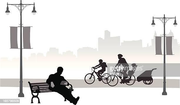Family Bikes Vector Silhouette