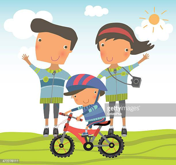 family biking day - family cycling stock illustrations, clip art, cartoons, & icons