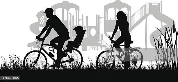 ilustrações de stock, clip art, desenhos animados e ícones de familybiking - family cycling