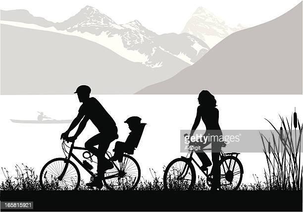 Family Biking Vector Silhouette