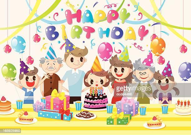illustrations, cliparts, dessins animés et icônes de famille anniversaire party - anniversaire enfant