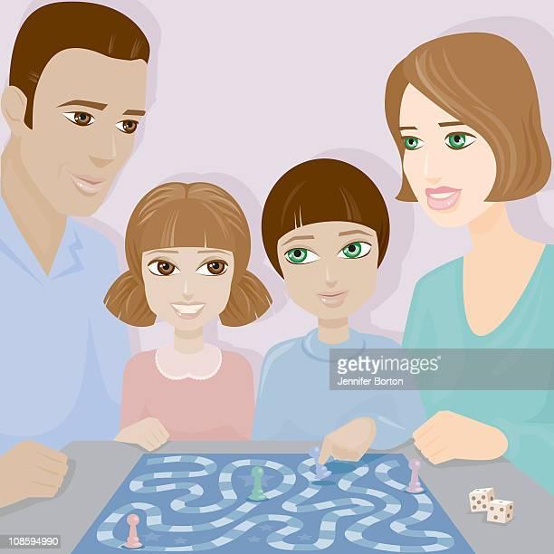 stockillustraties, clipart, cartoons en iconen met family board game - bruine ogen