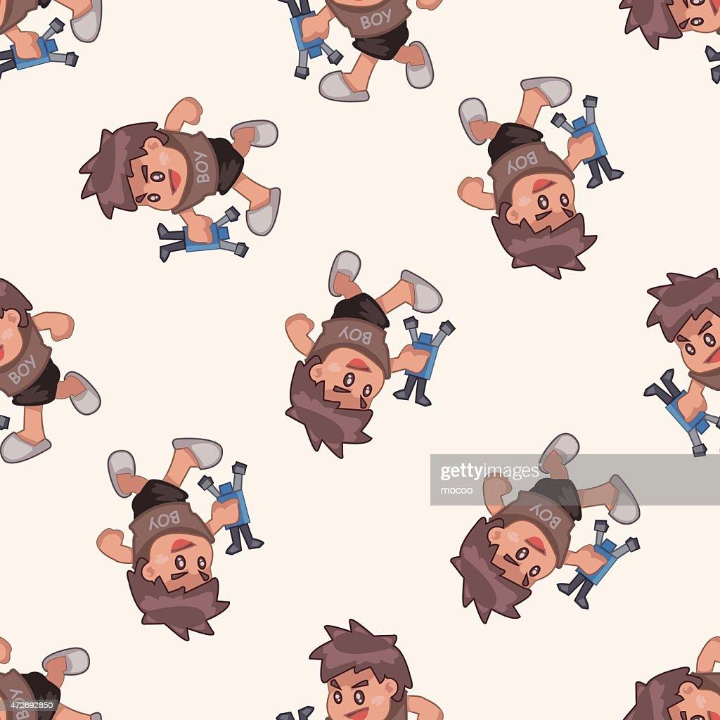 family boy character , cartoon seamless pattern background
