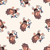 family boy character , cartoon seamless pattern background