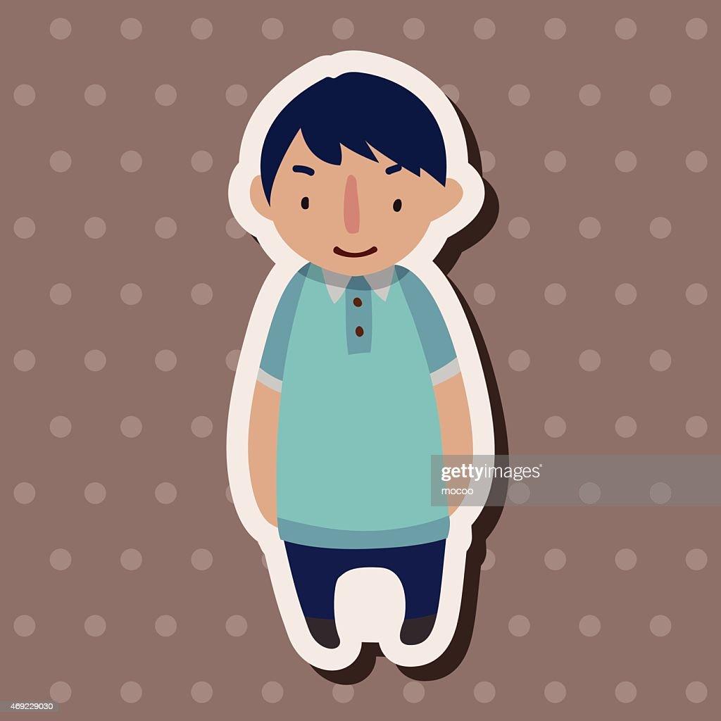 family boy character flat icon elements background,eps10