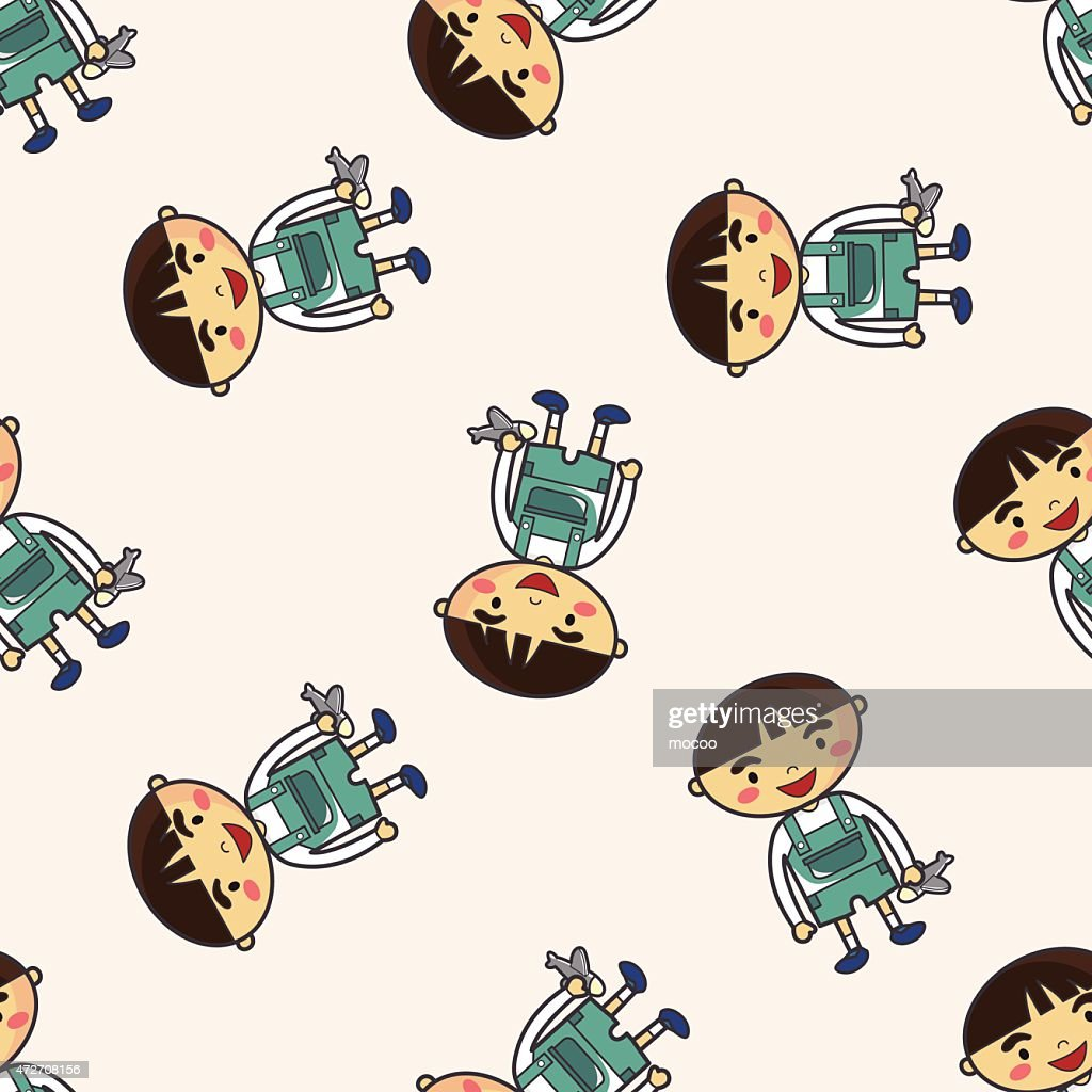 family boy character icon 10, cartoon seamless pattern background