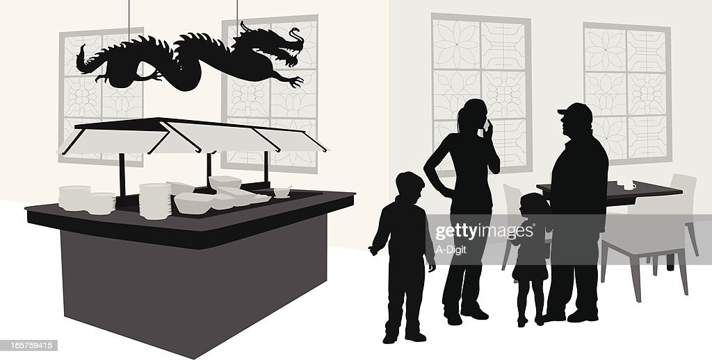 Family Buffet Vector Silhouette : stock illustration