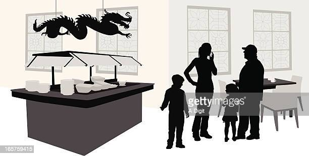 Family Buffet Vector Silhouette