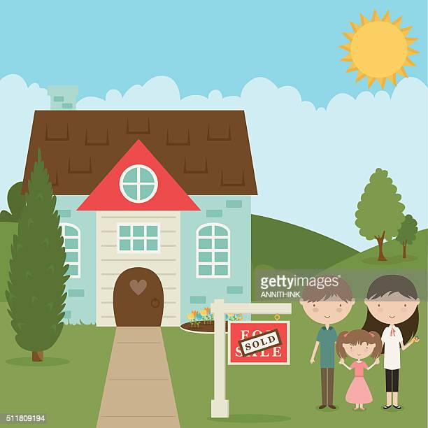family buys new home - new home stock illustrations, clip art, cartoons, & icons