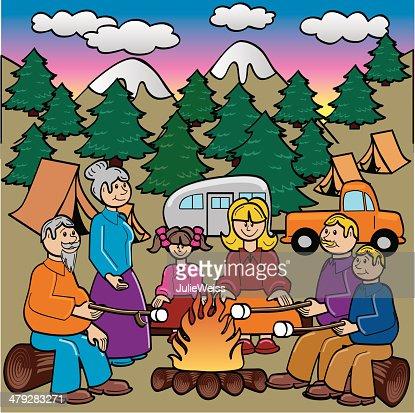 Family Camping And Roasting Marshmallows Vector Art