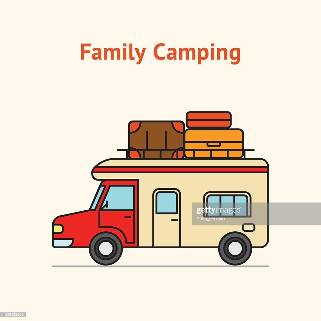 Family Camping Truck Illustration