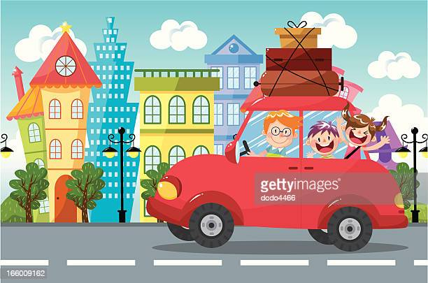 family car travel - holiday travel stock illustrations, clip art, cartoons, & icons
