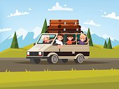 Family car trip. Father, mother and children traveling by car