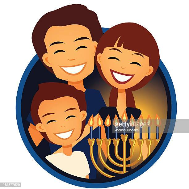 family celebrating hanukkah - hanukkah stock illustrations, clip art, cartoons, & icons